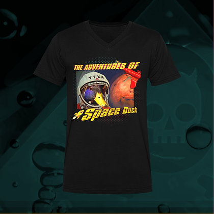 The Lowest of Low ADVENTURES OF SPACE DUCK 100% Cotton v-neck t-shirt US size S M L XL 2XL 3XL 4XL sizes front
