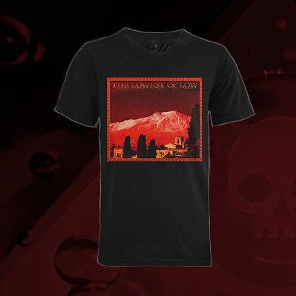 The Lowest of Low Mount Etna Mungibeddu 100% Cotton ringspun v-neck t-shirt nero black Famous Mountain Italian design