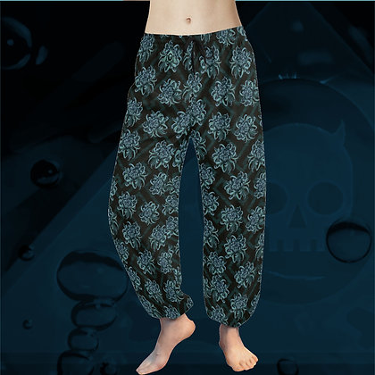Blue Chrysanthemum Pattern floral tai chi yoga harem pyjama pants comfortable elegant chiffon trousers The Lowest of Low fron