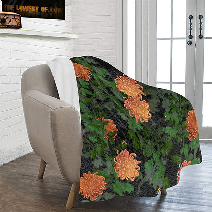 The Lowest of Low Chrysanthemum 2020 Ultra-soft Microfleece Blanket floral Japanese elegant warm