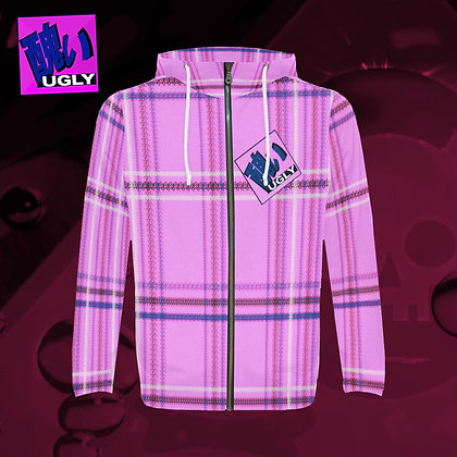 UGLY All-Over Print zipped hoodie hooded jacket warm comfort roomy style tartan plaid Bubblegum pink The Lowest of Low front
