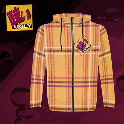 UGLY All-Over Print zipped hoodie hooded jacket warm comfort roomy style tartan plaid Tang orange The Lowest of Low front