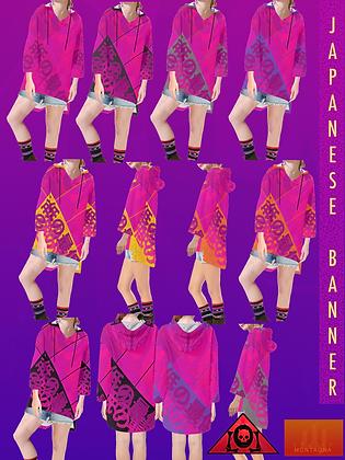 Japanese Banner Step-Hem Tunic Hoodie ELECTRIC FUCSIA