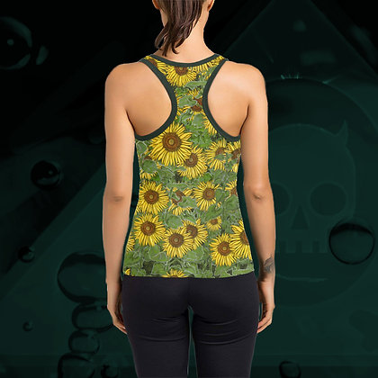 The Lowest of Low Sunflower Field all-over print Racerback tank tankini sports casual top (back)