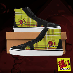 UGLY tartan high top skate shoes The Lowest of Low Original gold