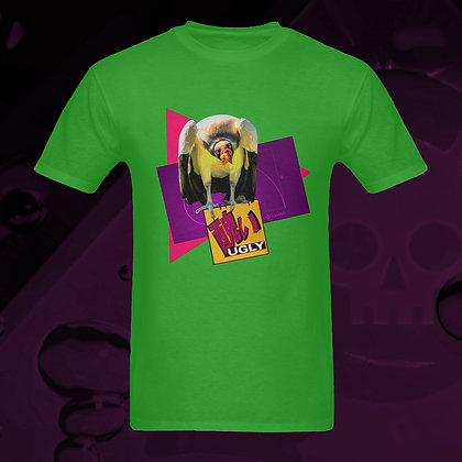 UGLY vulture raptor bird 100% Cotton t-shirt round neck from The Lowest of Low US sizes S, M, L, XL, 2XL, 3XL front view
