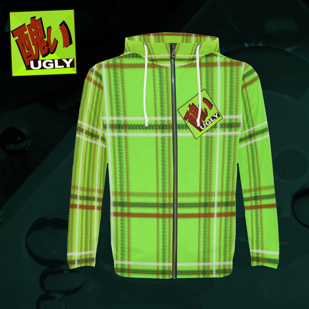 UGLY tartan zipper sweatshirt jacket hoodie The Lowest of Low Lime