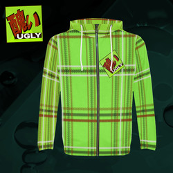 UGLY tartan zipper sweatshirt jacket hoodie The Lowest of Low Lime