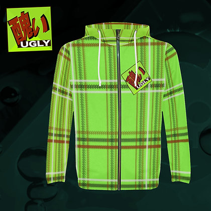 UGLY All-Over Print zipped hoodie hooded jacket warm comfort roomy style tartan plaid Lime green The Lowest of Low front