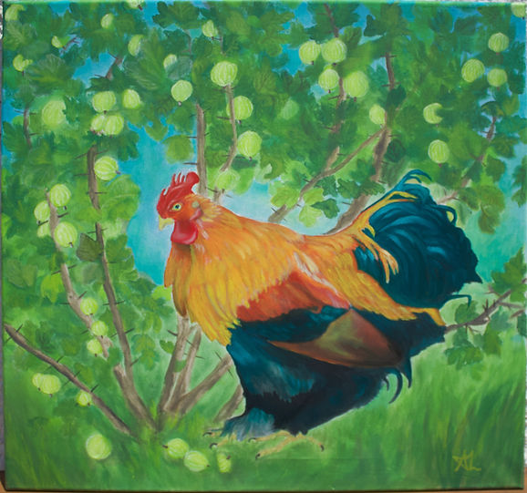 Lord Uthari Dragonheart chicken cockrel bantam cock mythic poultry gooseberry bucolic animal painting