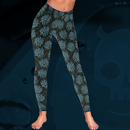 Blue Chrysanthemum Pattern floral Low Rise elegant comfortable thick leggings The Lowest of Low front