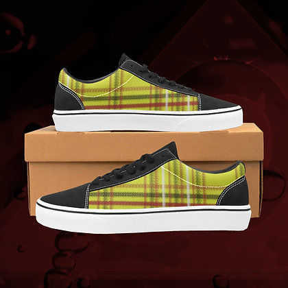 Original gold UGLY Tartan plaid  Low Top Skate Skateboarding Casual Shoes All Gender The Lowest of Low