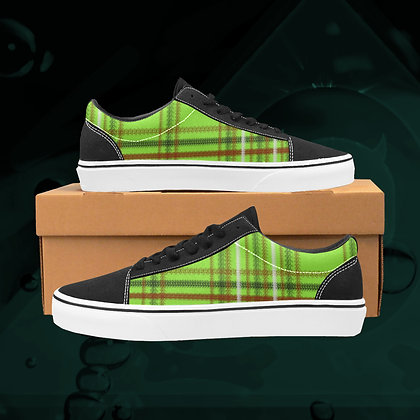Lime green UGLY Tartan plaid  Low Top Skate Skateboarding Casual Shoes All Gender The Lowest of Low