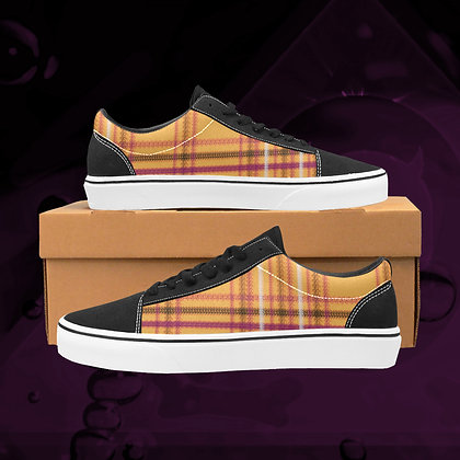 Tang orange UGLY Tartan plaid  Low Top Skate Skateboarding Casual Shoes All Gender The Lowest of Low
