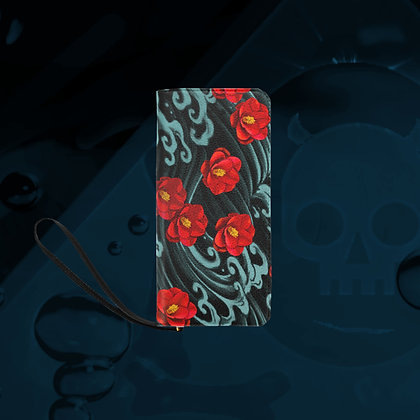 The Lowest of Low Kurosawa Camellias clutch purse wallet bag sturdy compact fabulous strong metal zipper floral design