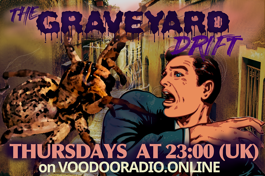 Graveyard Drift Giant Spider Man attack Covid-19 resurgent nature recovery Erice street arachnids voodoo radio show Promo image quirky 1950s picture postcard style dusky colors The Lowest of Low podcast