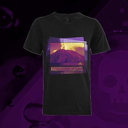 The Lowest of Low Stromboli 100% Ringspun Cotton V-neck T-shirt nero black Italian design Famous Mountain