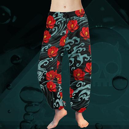 The Lowest of Low Kurosawa Camellias all-over print Taiji Tai Chi Harem Yoga chiffon relaxed pyjama salwar pants side view