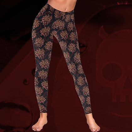 Rose Gold Chrysanthemum Pattern floral Low Rise elegant comfortable thick leggings The Lowest of Low front