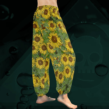 The Lowest of Low Sunflower Field all-over print Taiji Tai Chi Harem Yoga chiffon relaxed beach pants side view