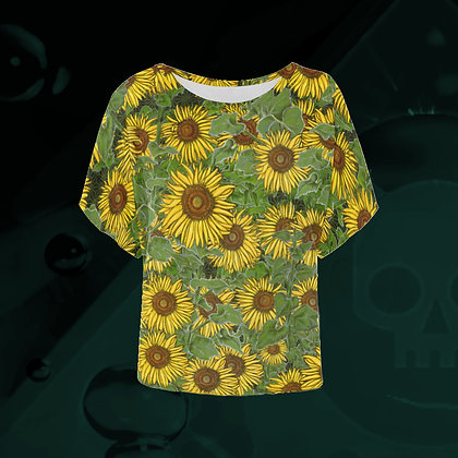 The Lowest of Low Sunflower Field all-over print Batwing short sleeve blouse t-shirt workwear vibrant colourful floral