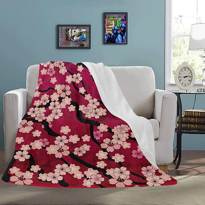 snuggly Sakura Breeze floral fleece blankets from The Lowest of Low