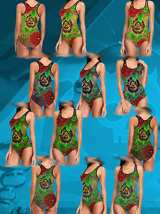 The Lowest of Low Chinese Peony Bagua Traditional Japanese Tattoo art racing swim suit one piece bathing costume designer