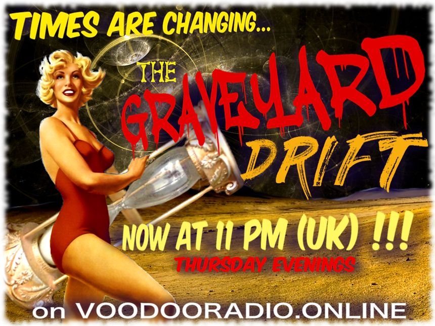 Graveyard Drift Voodoo Radio show Time Change Sexy 1950s swimsuit pinup girl Promo image The Lowest of Low podcast