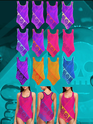 The Lowest of Low Japanese Banner designer swim suit one piece flattering water sport athletic swimwear vibrant colors