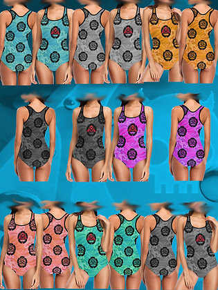 The Lowest of Low Kamon Acqua red triangle skull logo Japanese tattoo waves Star Trek colors  swim suit one piece bathing