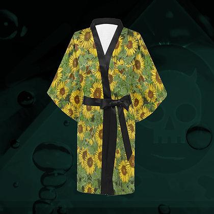 The Lowest of Low Sunflower Field Kimono Haori wrap dress wrap jacket robe all-over print