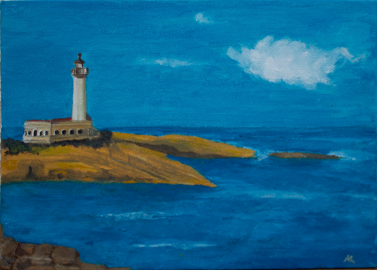 Faro Capo Santa Croce Augusta Sicily Sicilia Painting
