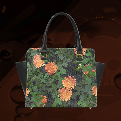 The Lowest of Low Classic shoulder hand bag Chrysanthemum 2020 removable strap PU leather ecopelle art deco designer style