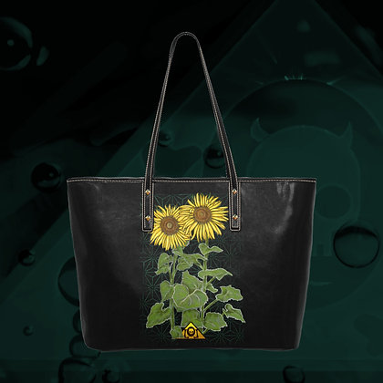 The Lowest of Low Sunflowers Logo Gigantic PU Leather ecopelle tote bag premium quality sturdy and huge front