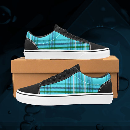 Acqua blue UGLY Tartan plaid  Low Top Skate Skateboarding Casual Shoes All Gender The Lowest of Low