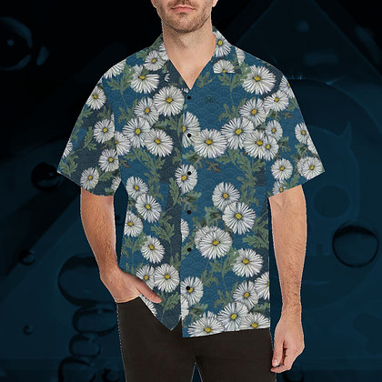 The Lowest of Low Daisies Hawaiian Leisure Skate Surf Beach Short Sleeve Roomy Shirt Peacock