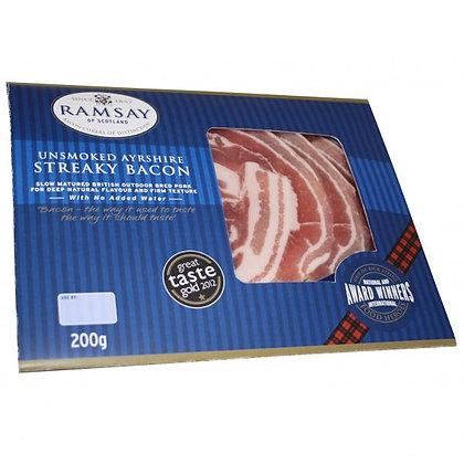 200g Ramsay Ayrshire Streaky Bacon Unsmoked
