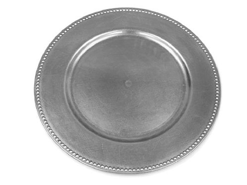 """Silver Beaded 13"""" Charger Plates"""