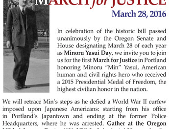 Minoru Yasui Day! March 28 MARCH FOR JUSTICE!
