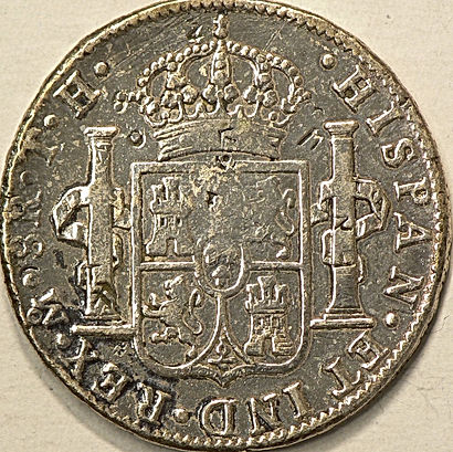 Piastre en argent avec contre-frappe chinoise Spanish Dollar with Chinese Chop Marks 