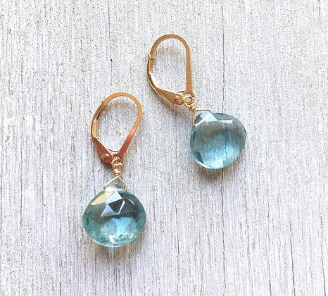 aqua blue quartz drop earrings gold
