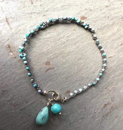 turquoise crochet bracelet