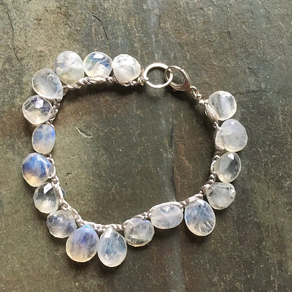 moonstone crochet big drops bracelet
