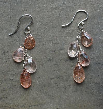 E026 Four Sunstone Earrings