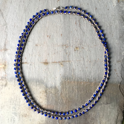 long lapis crochet necklace