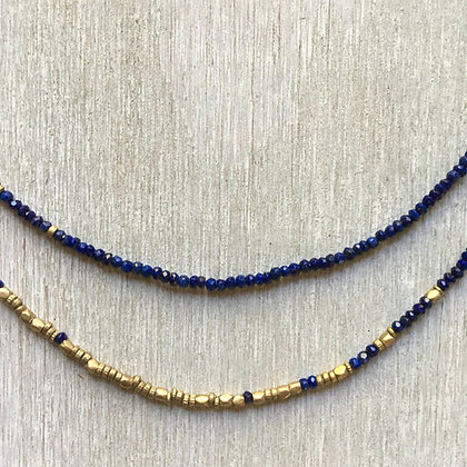 lapis and brass fade long necklace