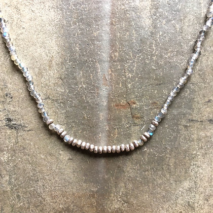 silver centered on labradorite med. necklace
