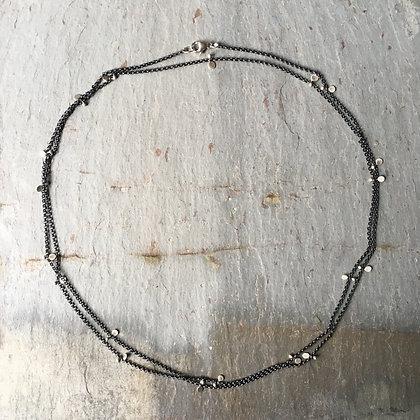 silver rhythm oxidized chain long