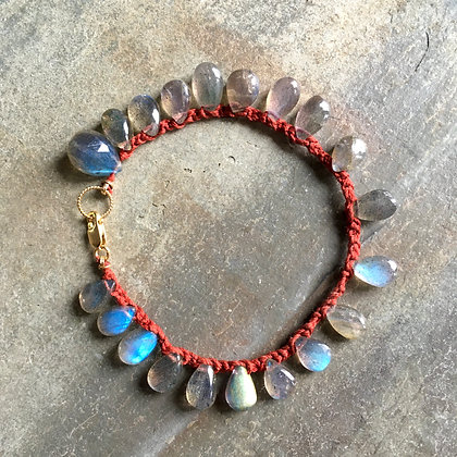 labradorite red crochet bracelet