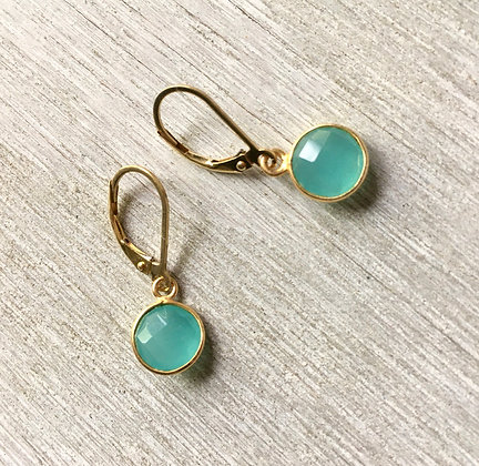chalcedony set in gold earrings